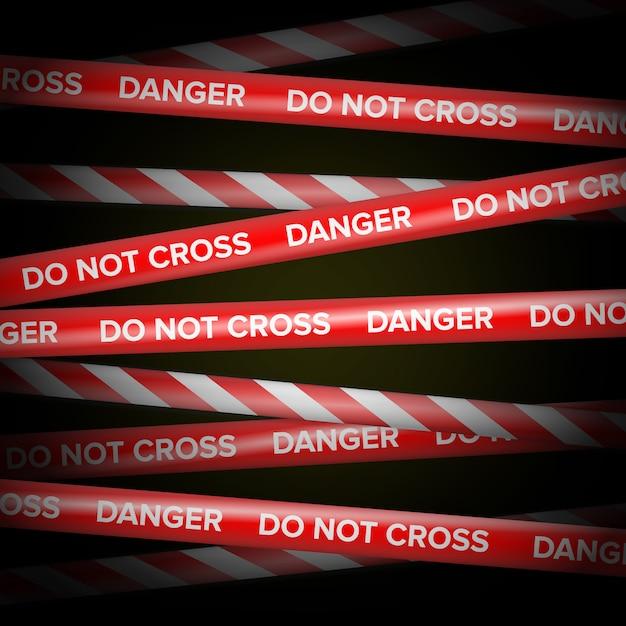 Vecteur rouge et blanc. lignes de danger. Vecteur Premium