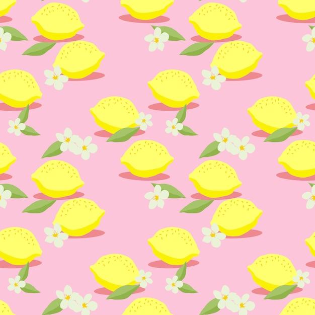 Vecteur sans soudure de citrons frais. main dessinée d'agrumes colorés. concept de fruits d'été. Vecteur Premium
