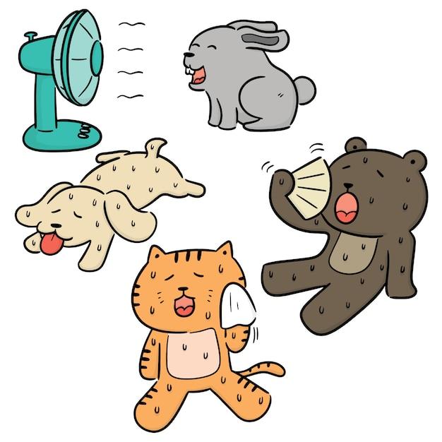 Vecteur série d'animal par temps chaud Vecteur Premium