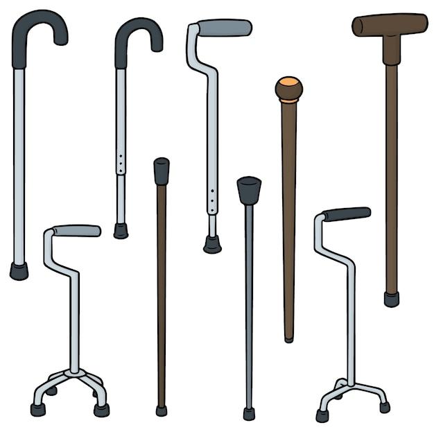 Vecteur série de bâton de marche Vecteur Premium