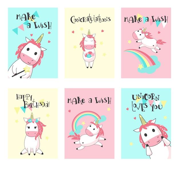 Vecteur série de cartes de voeux anniversaire licorne Vecteur Premium