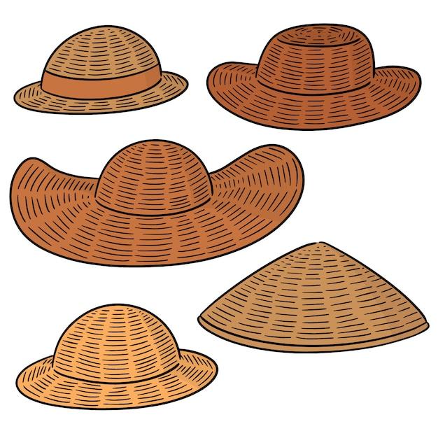 Vecteur série de chapeau de paille Vecteur Premium