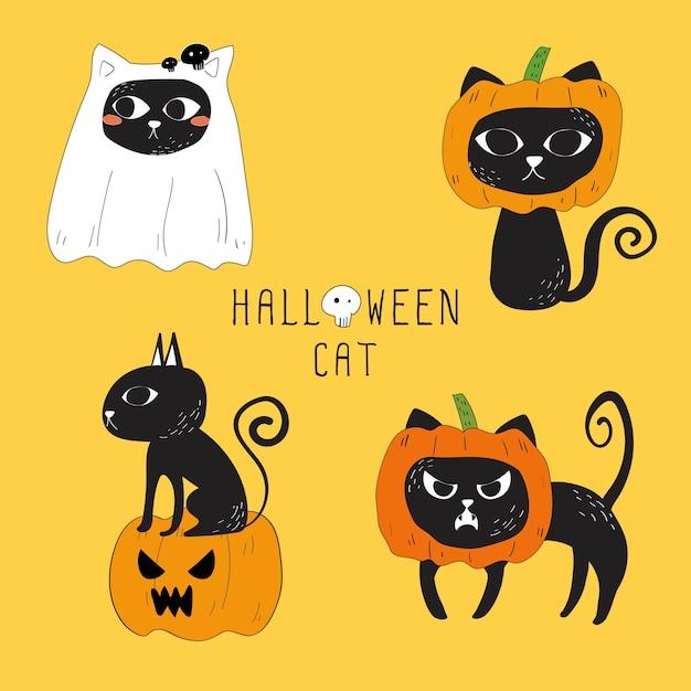 Vecteur série de chat noir d'halloween. Vecteur Premium