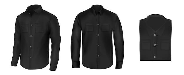 Vecteur Série De Chemises Noires Pour Hommes, Vue De Face Vecteur gratuit