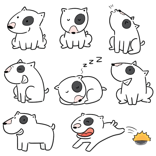 Vecteur Série De Chien, Bull Terrier Vecteur Premium