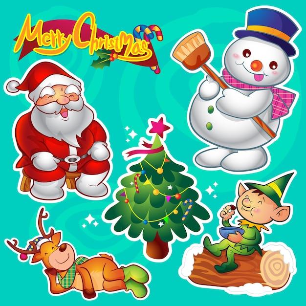 Vecteur série de décorations et de personnages de noël mignons colorés Vecteur Premium