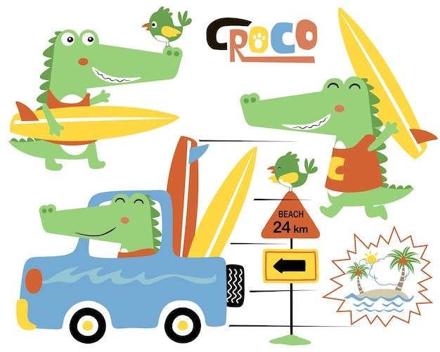 Vecteur série de dessin animé drôle de crocodile sur voiture avec planche de surf Vecteur Premium