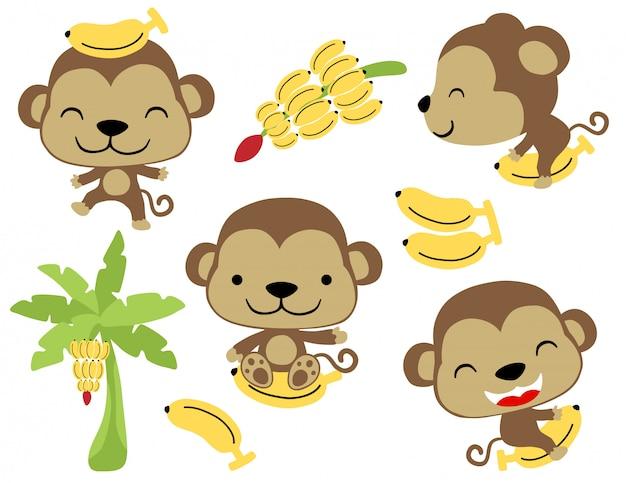 Vecteur série de drôles petits singes à la banane Vecteur Premium