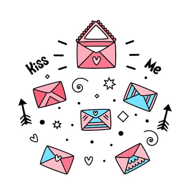 Vecteur série d'enveloppes postales pour la saint-valentin Vecteur Premium