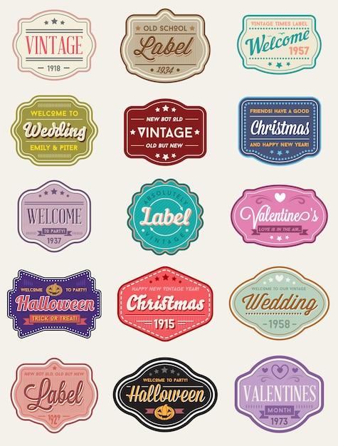 Vecteur série d'étiquettes de conception premium style rétro vintage ou des badges Vecteur Premium