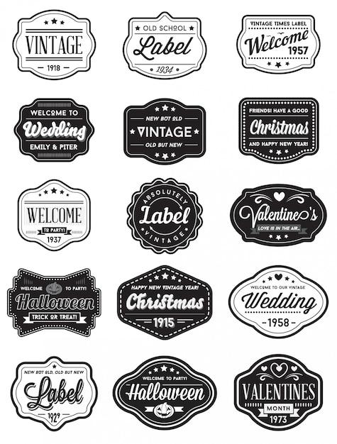 Vecteur série d'étiquettes de conception premium style rétro vintage Vecteur Premium