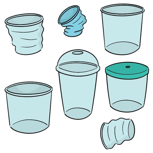 Vecteur série de gobelet en plastique Vecteur Premium
