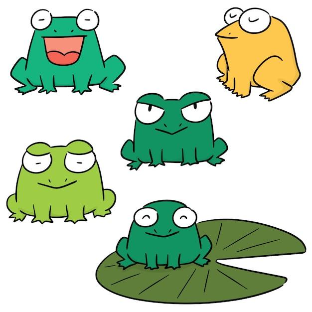 Vecteur série de grenouille Vecteur Premium