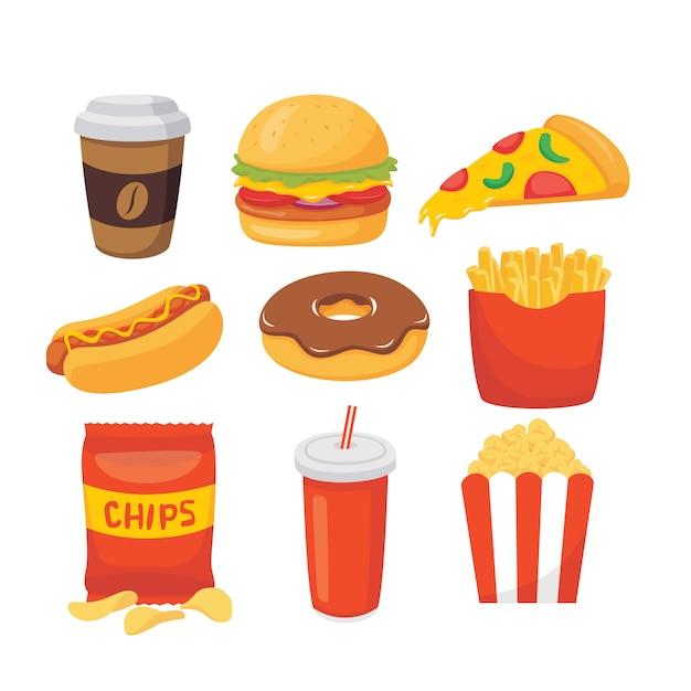Vecteur série d'illustration de fast-food dessin animé Vecteur Premium