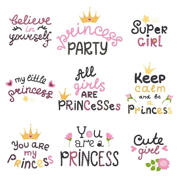Vecteur Série De Lettrage Avec Des Phrases De Princesse Mignonnes Vecteur Premium