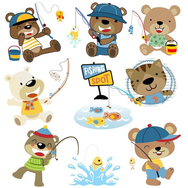 Vecteur série de pêche de dessin animé de drôles d'animaux Vecteur Premium