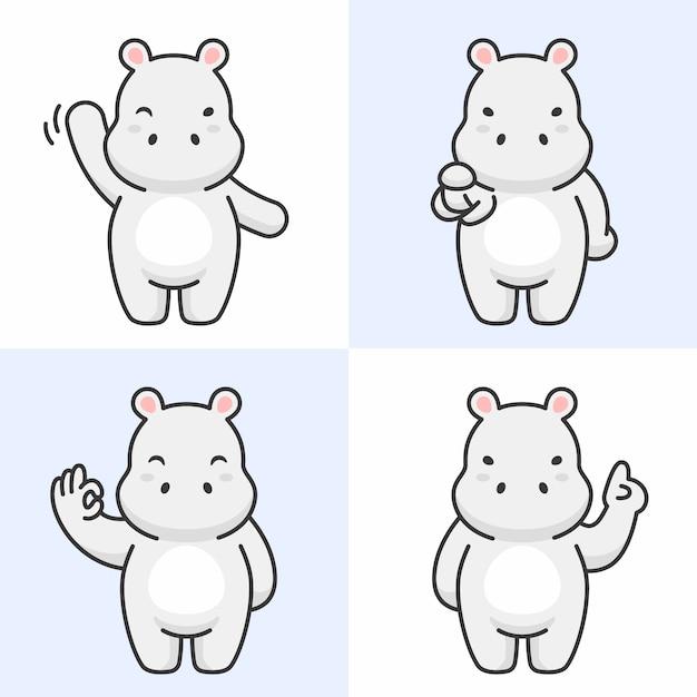 Vecteur série de personnages mignons hippo Vecteur Premium