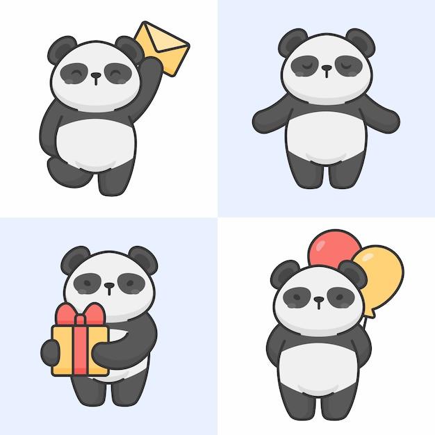 Vecteur série de personnages de panda mignons Vecteur Premium