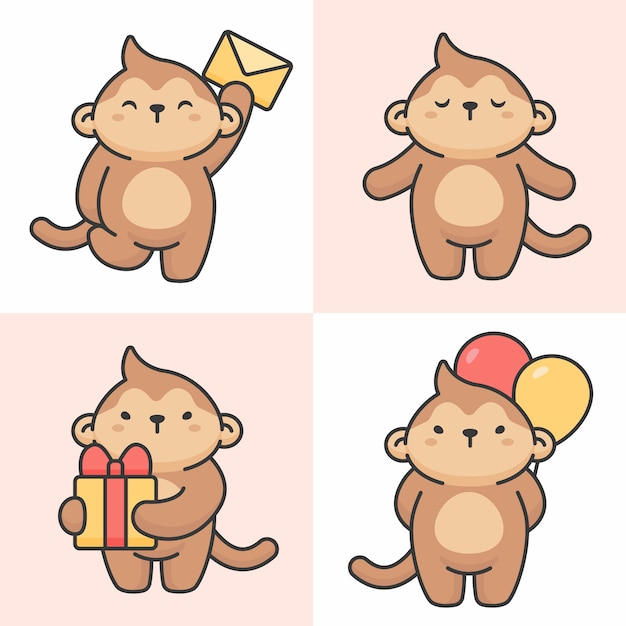 Vecteur série de personnages de singe mignon Vecteur Premium
