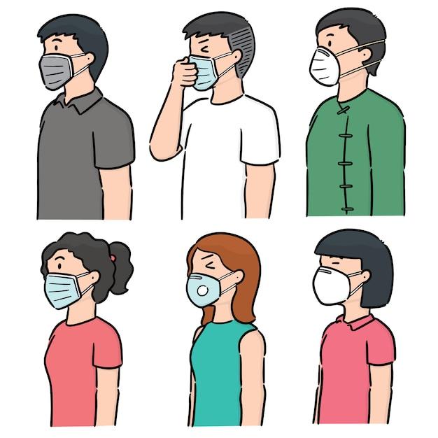Vecteur série de personnes utilisant un masque de protection médical Vecteur Premium