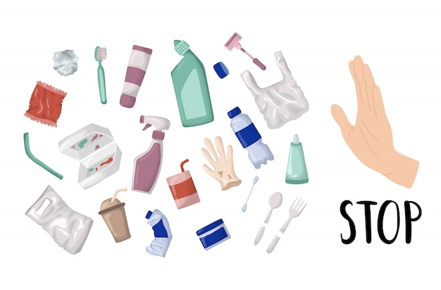 Vecteur série - poubelle en plastique et des déchets ou des ordures, concept zéro déchet Vecteur Premium