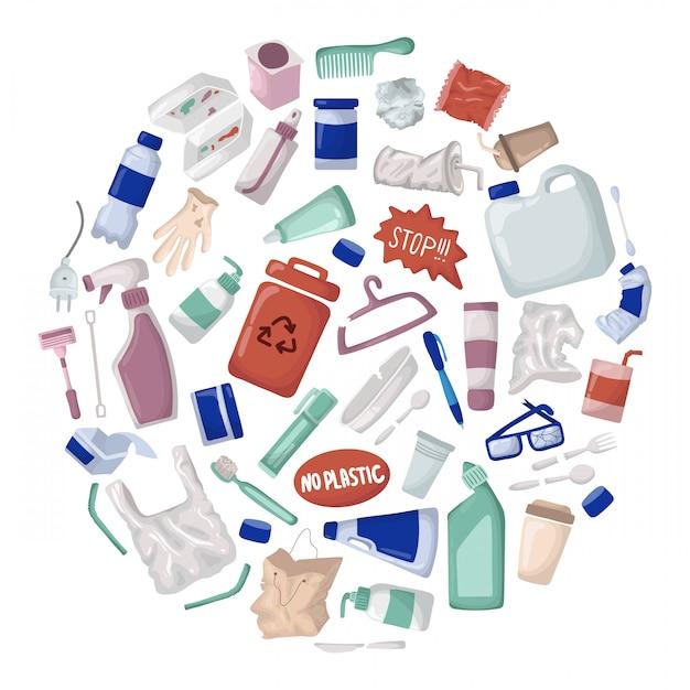 Vecteur série - poubelle en plastique et déchets ou ordures, recyclage du plastique Vecteur Premium