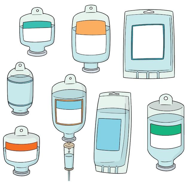 Vecteur série de solution saline médicale Vecteur Premium