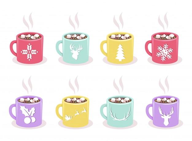 Vecteur série de tasses de couleur avec le cacao chaud, guimauve, symboles de vacances hiver, isolés. éléments de design de noël et du nouvel an Vecteur Premium