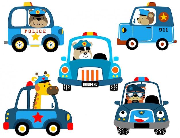 Vecteur série de voitures de police avec des flics drôles Vecteur Premium