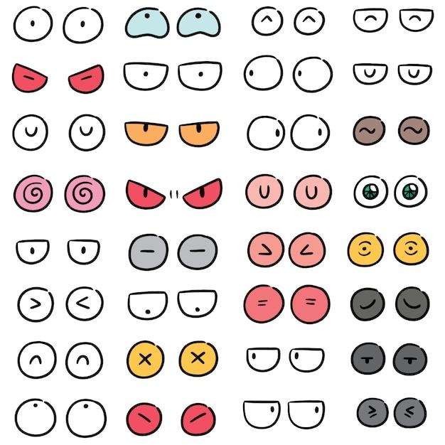 Vecteur série d'yeux de dessin animé Vecteur Premium