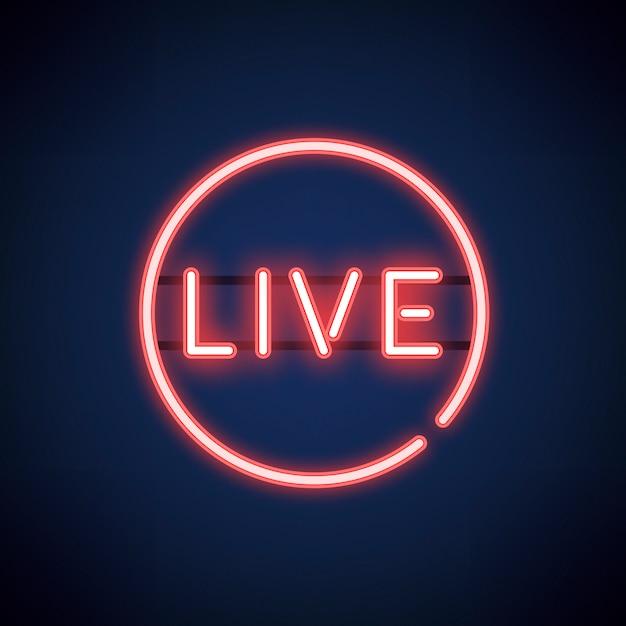 Vecteur de signe de néon live rouge Vecteur gratuit
