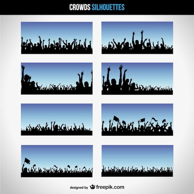 Vecteur silhouettes foule Vecteur gratuit