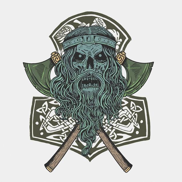 Vecteur de soldat crâne viking Vecteur Premium