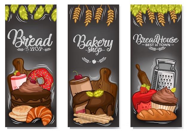 Vecteur stock ensemble de bannière de dessert Vecteur Premium