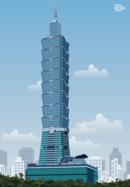 Vecteur De La Structure Du Gratte Ciel Taipei Telecharger