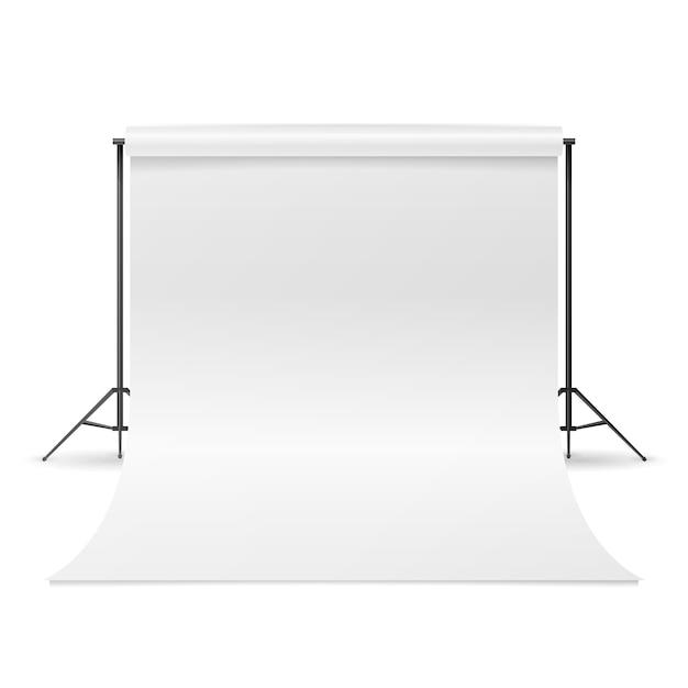 Vecteur studio de photographie. nettoyer la toile blanche isolée. illustration réaliste. Vecteur Premium