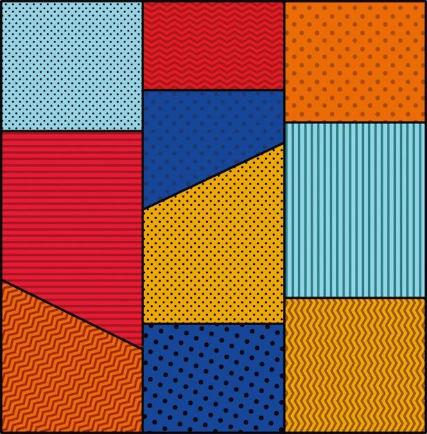 Vecteur de style pop art pointillé et couleurs de fond Vecteur gratuit
