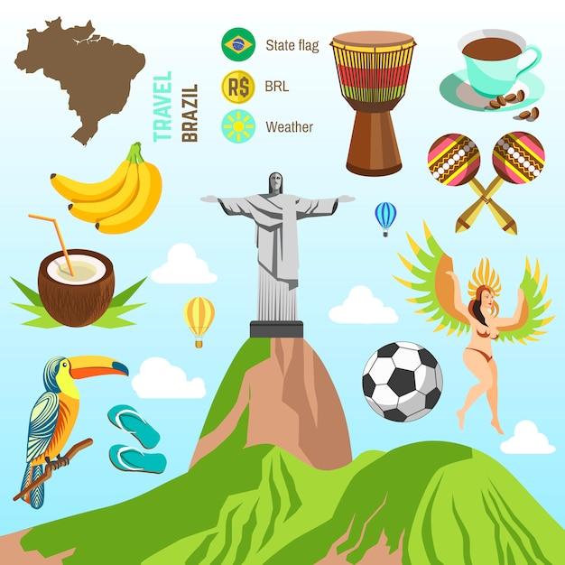 Vecteur Des Symboles Du Brésil Et De Rio. Vecteur Premium