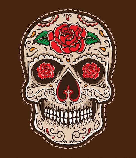 Vecteur de tatouage crâne Vecteur Premium