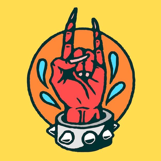 Vecteur de tatouage vieille école main satan Vecteur Premium
