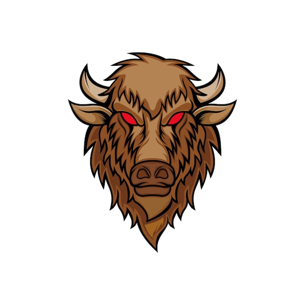 Vecteur tête de bison Vecteur Premium