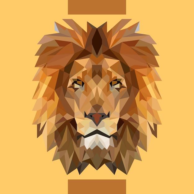 Vecteur tête de lion faible polygonale Vecteur Premium