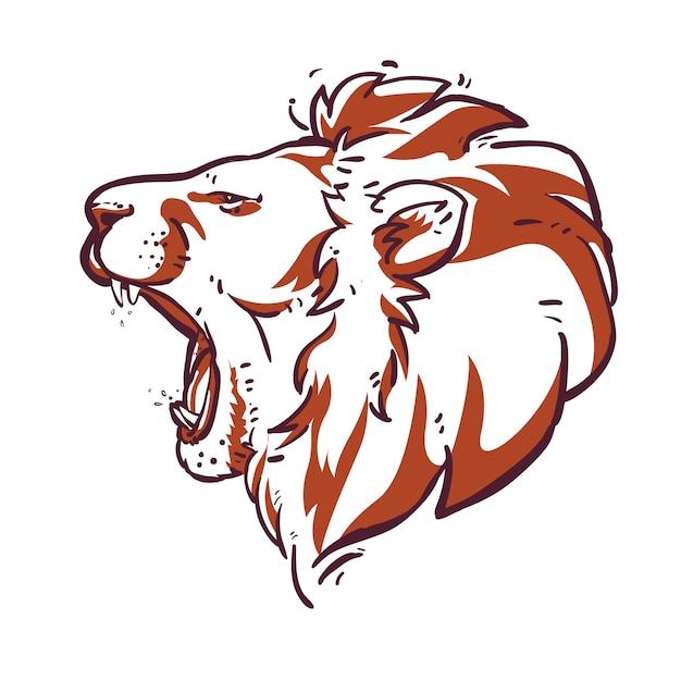 Vecteur de tête de lion Vecteur Premium