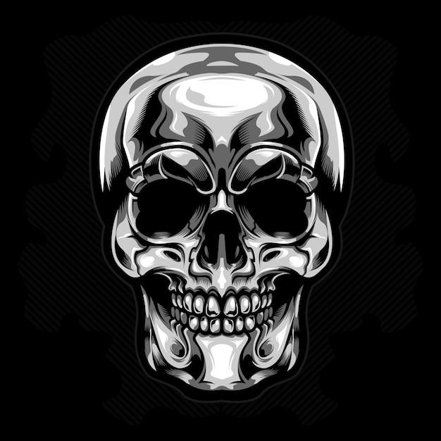 Vecteur tête de mort argent Vecteur Premium