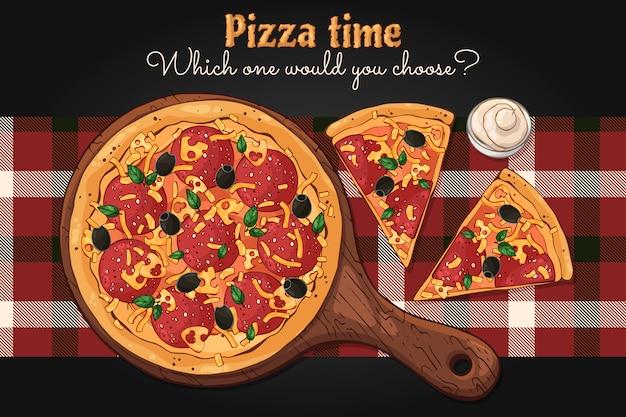 Vecteur. thème de la restauration rapide: pizza sur un plateau. Vecteur Premium