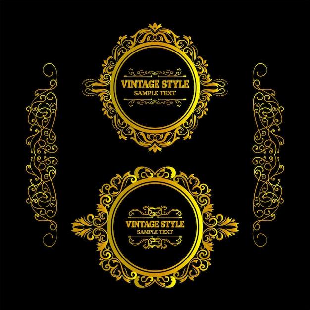 Vecteur De Trame D'éléments Décoratifs Cadre Vintage Or Vecteur Premium