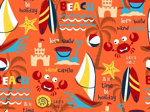 Vecteur transparente motif ensemble de thème de vacances plage Vecteur Premium