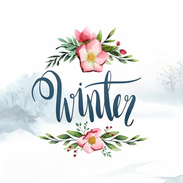 Vecteur de typographie hiver aquarelle calligraphie Vecteur gratuit
