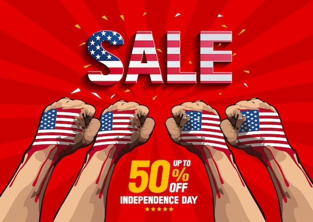 Vecteur de vente de fête de l'indépendance Vecteur Premium