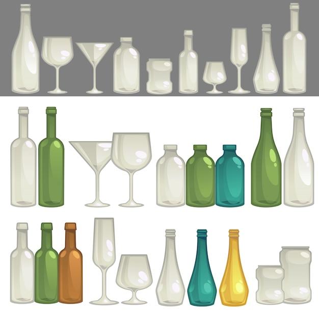 Vecteur des verres et des bouteilles pour boire. Vecteur Premium